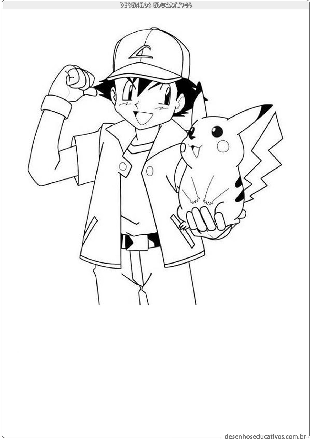 Ash e pikachu para colorir