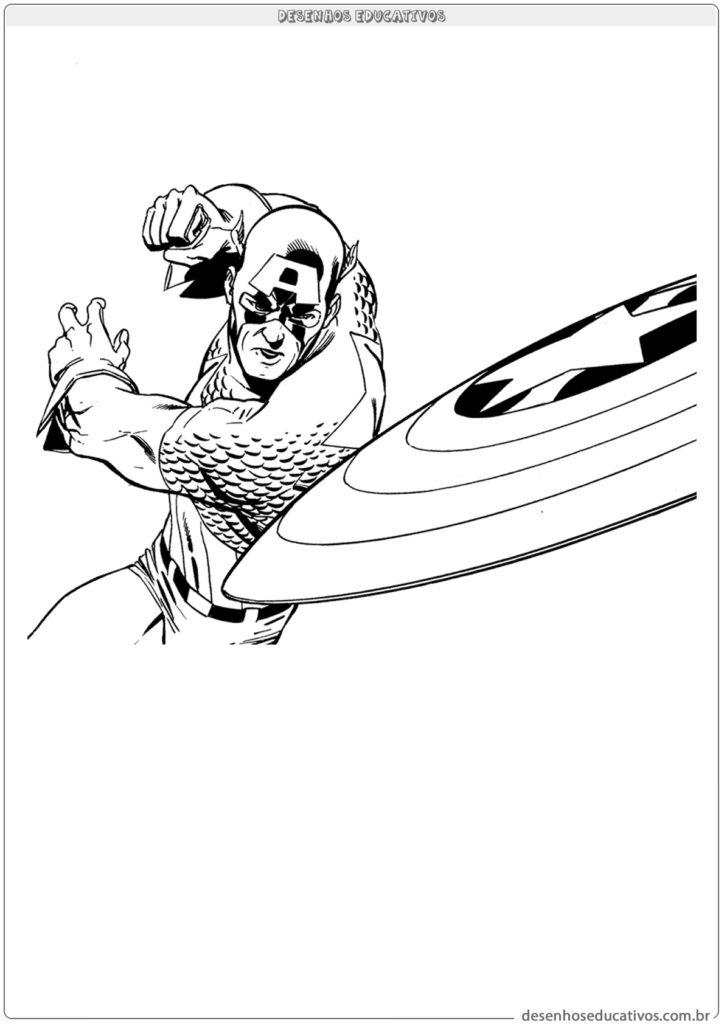 Capitão América jogando o escudo