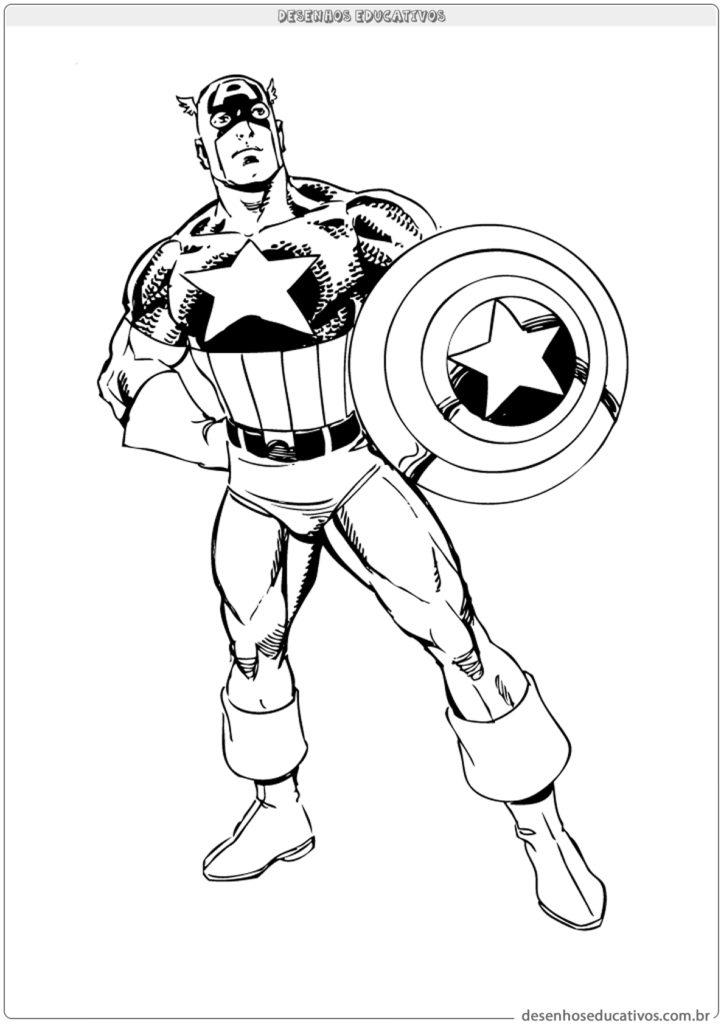 Desenho para colorir do capitão América