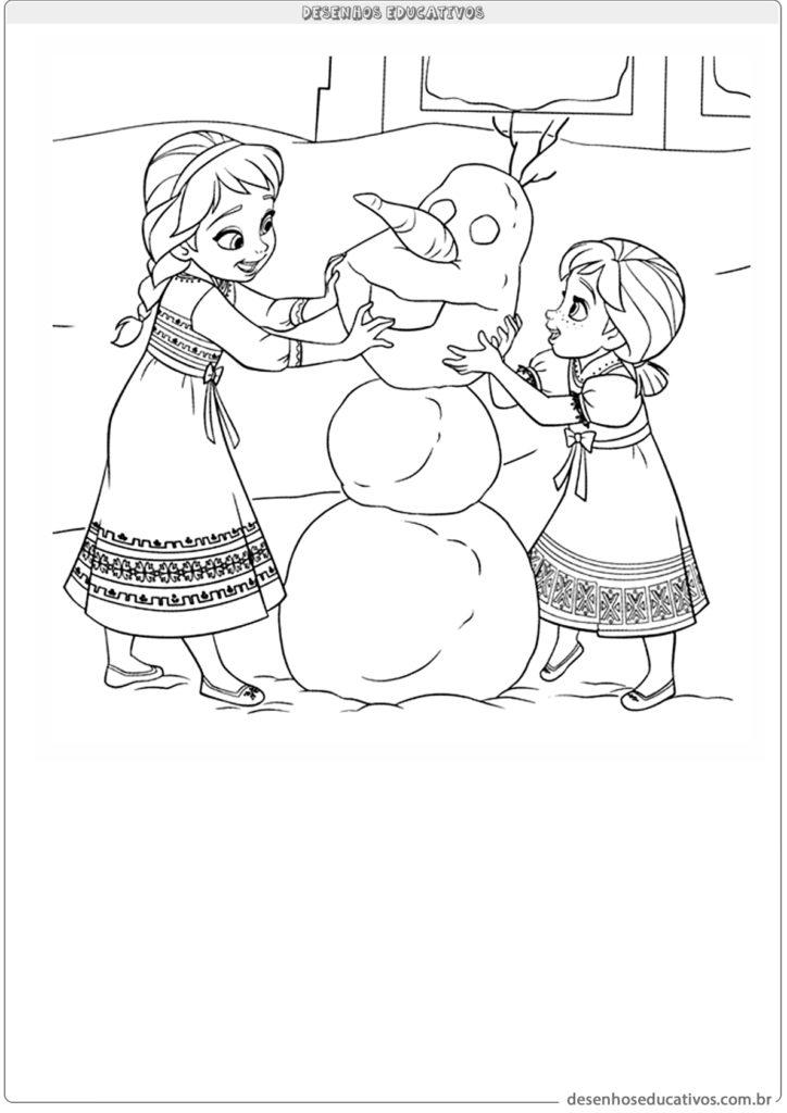 Desenhos educativos Elsa e Ana montando o Olaf