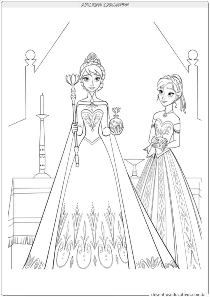 Desenhos educativos Frozen Ana e Elsa