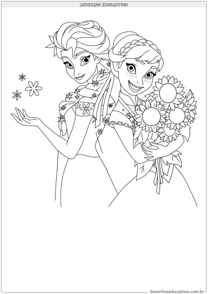 Desenhos educativos Frozen Elsa e Ana