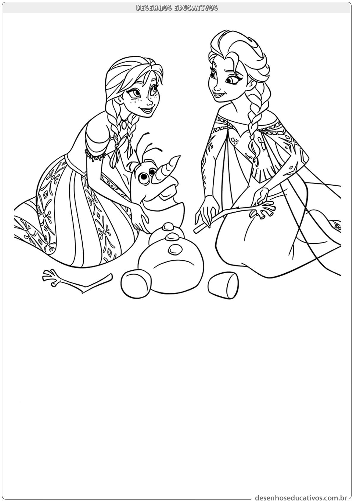 Desenhos educativos montando o Olaf