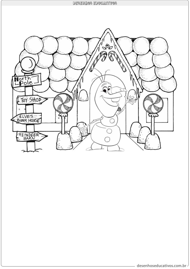 Desenhos educativos Olaf para colorir