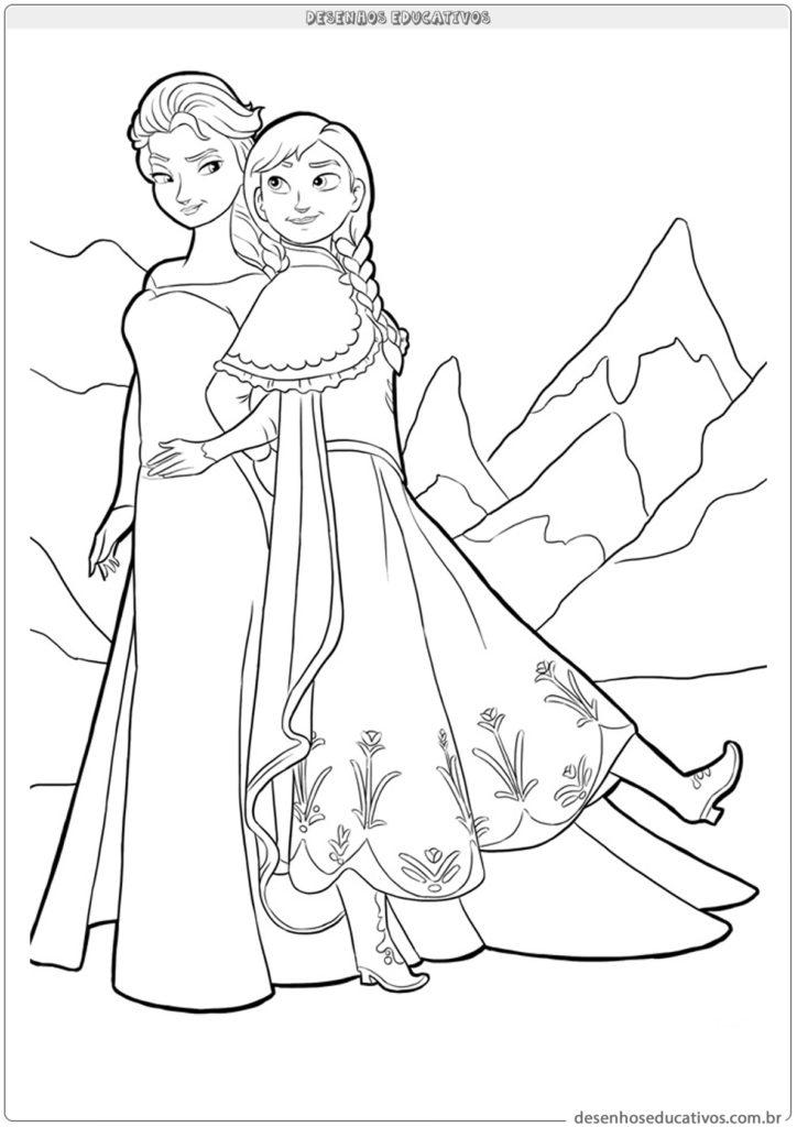 Desenhos educativos para colorir da Frozen irmãs