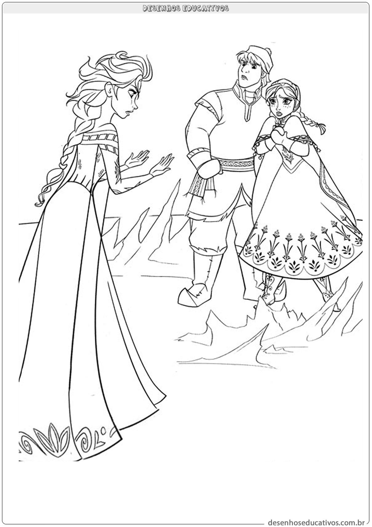 Desenhos educativos para colorir da Frozen