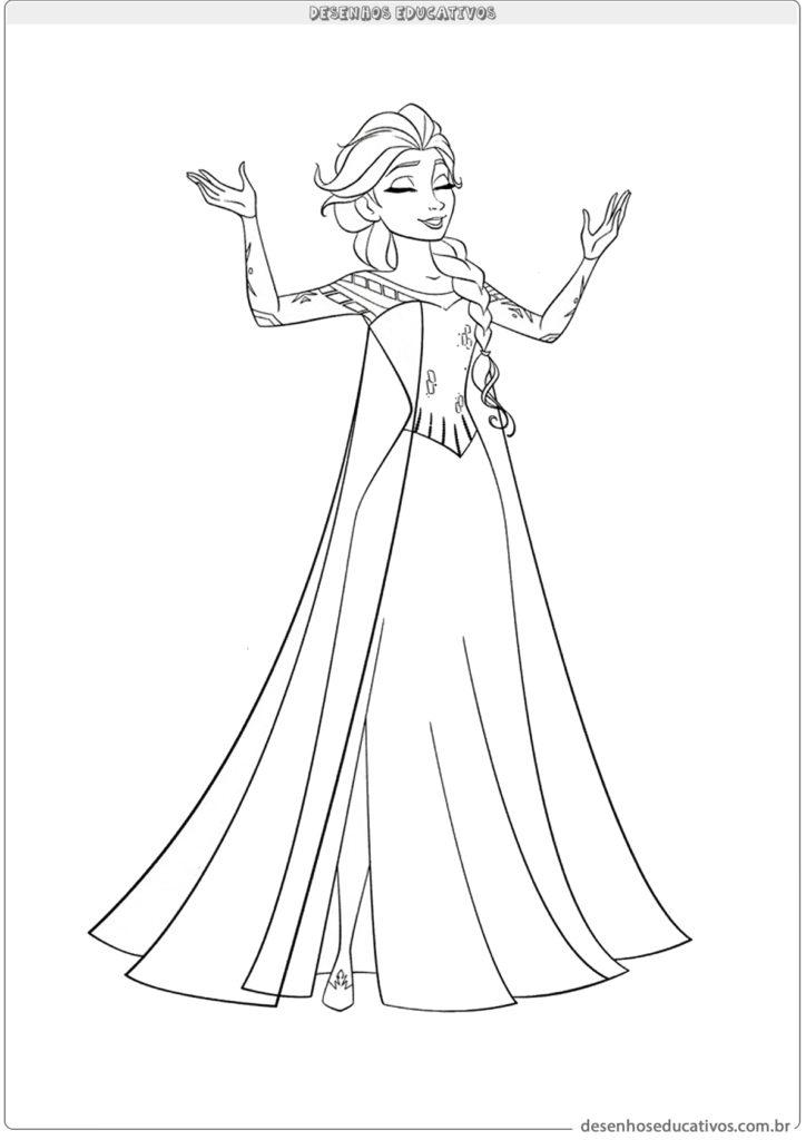 Desenhos educativos vamos colorir Elsa