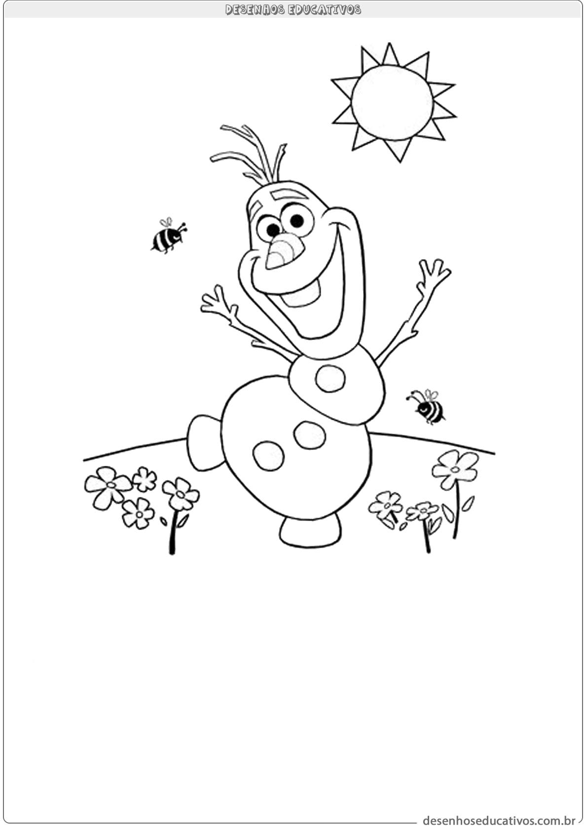 Desenhos educativos vamos pintar o Olaf