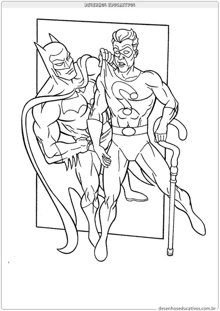 Desenhos para colorir Batman com charada