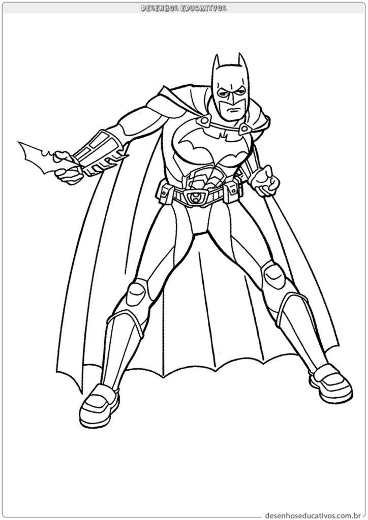 Desenhos para colorir Batman preparando para lutar