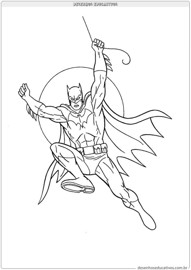Desenhos para colorir Batman segurando na corda
