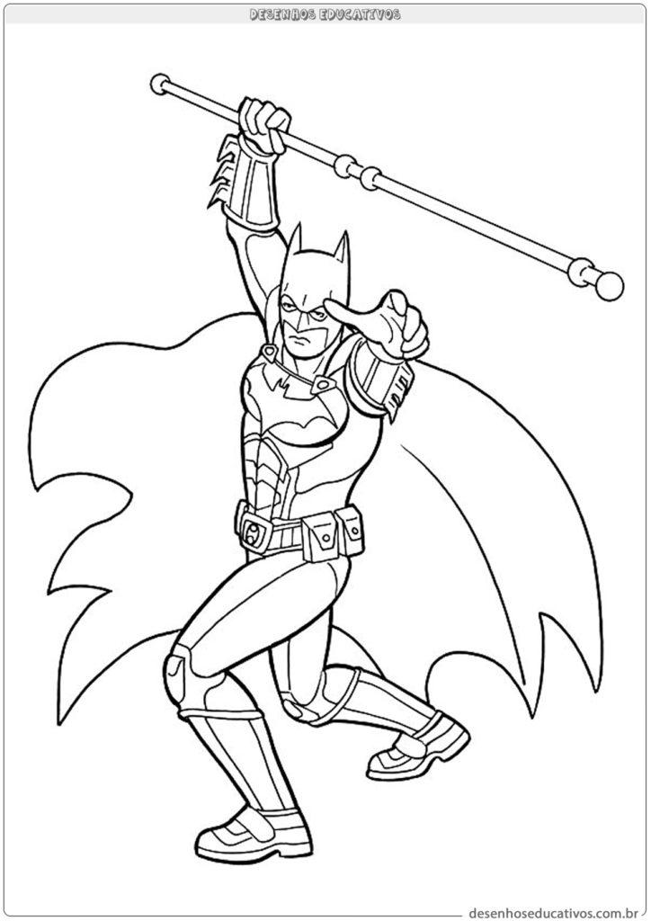 Desenhos para colorir Batman segurando um bastão