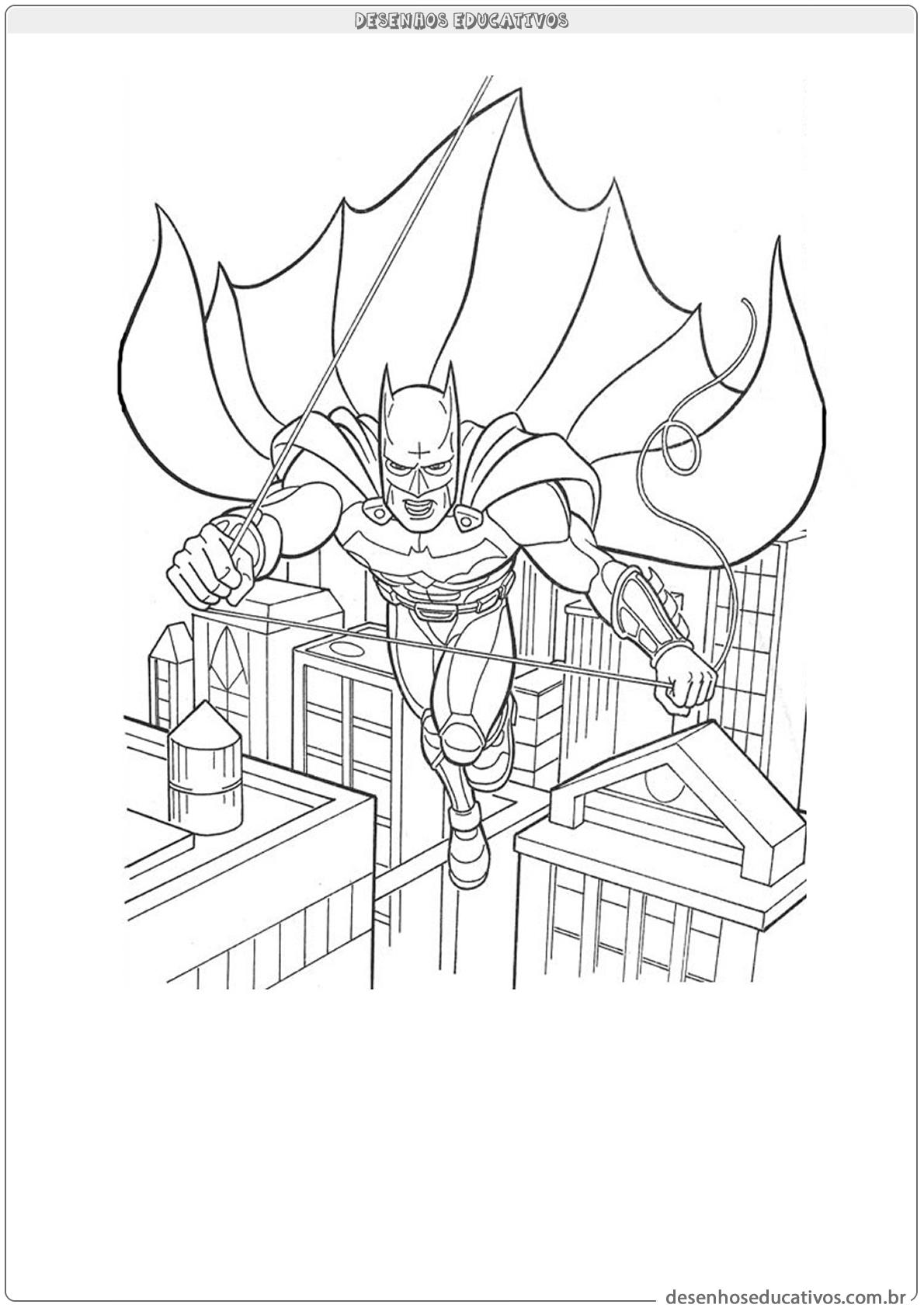 Desenhos Para Colorir Batman Voando Pela Cidade Desenhos Educativos