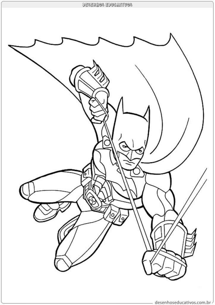 Desenhos para colorir Batman voando segurando a corda