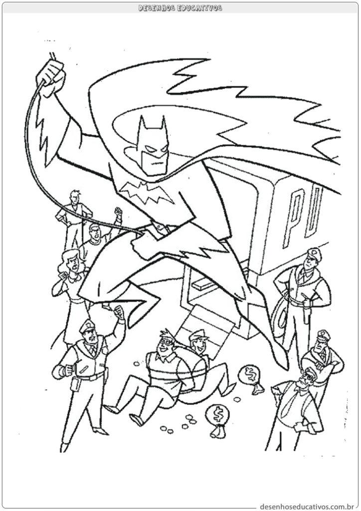 Desenhos para colorir Batman batendo em bandido