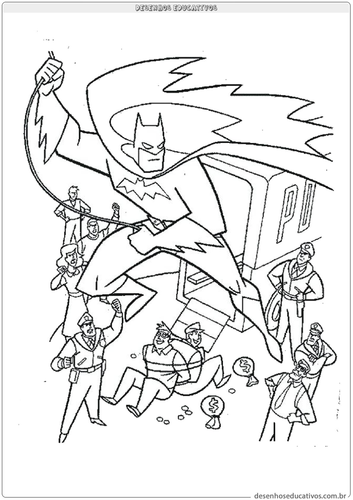 Desenhos Para Colorir Batman Batendo Em Bandido Desenhos Educativos