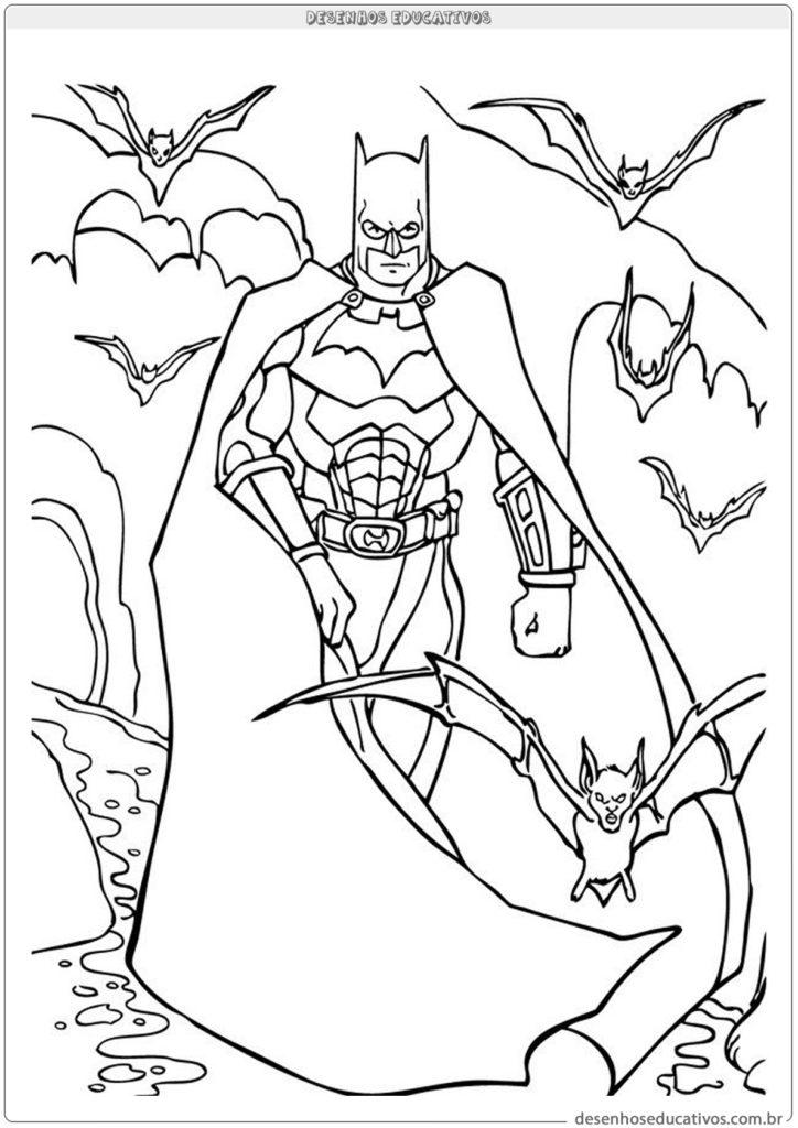 Desenhos para colorir Batman e morcegos