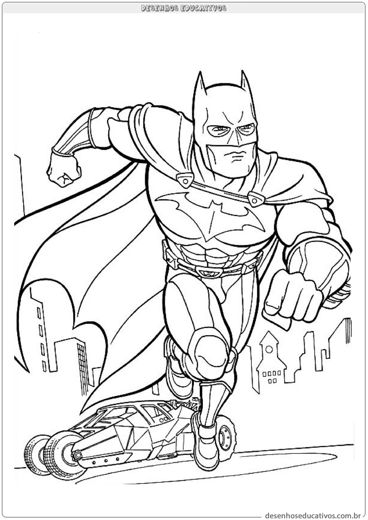 Desenhos Para Colorir Batman E Seu Carro Desenhos Educativos