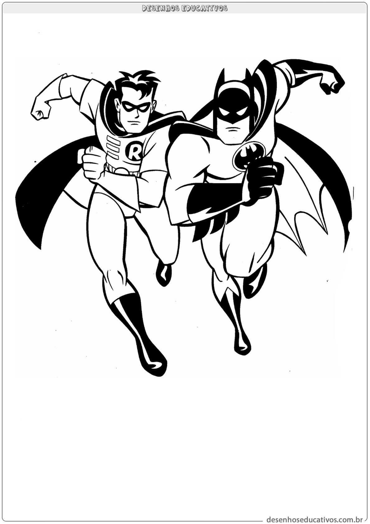 desenhos para colorir robin e batman