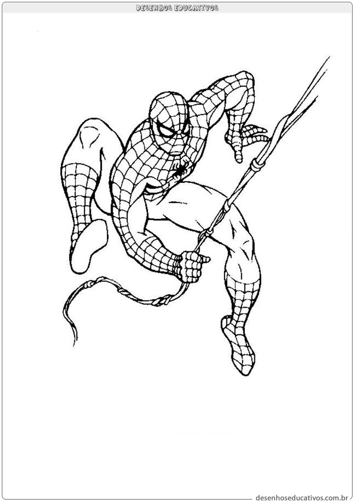 Homem aranha segurando na teia