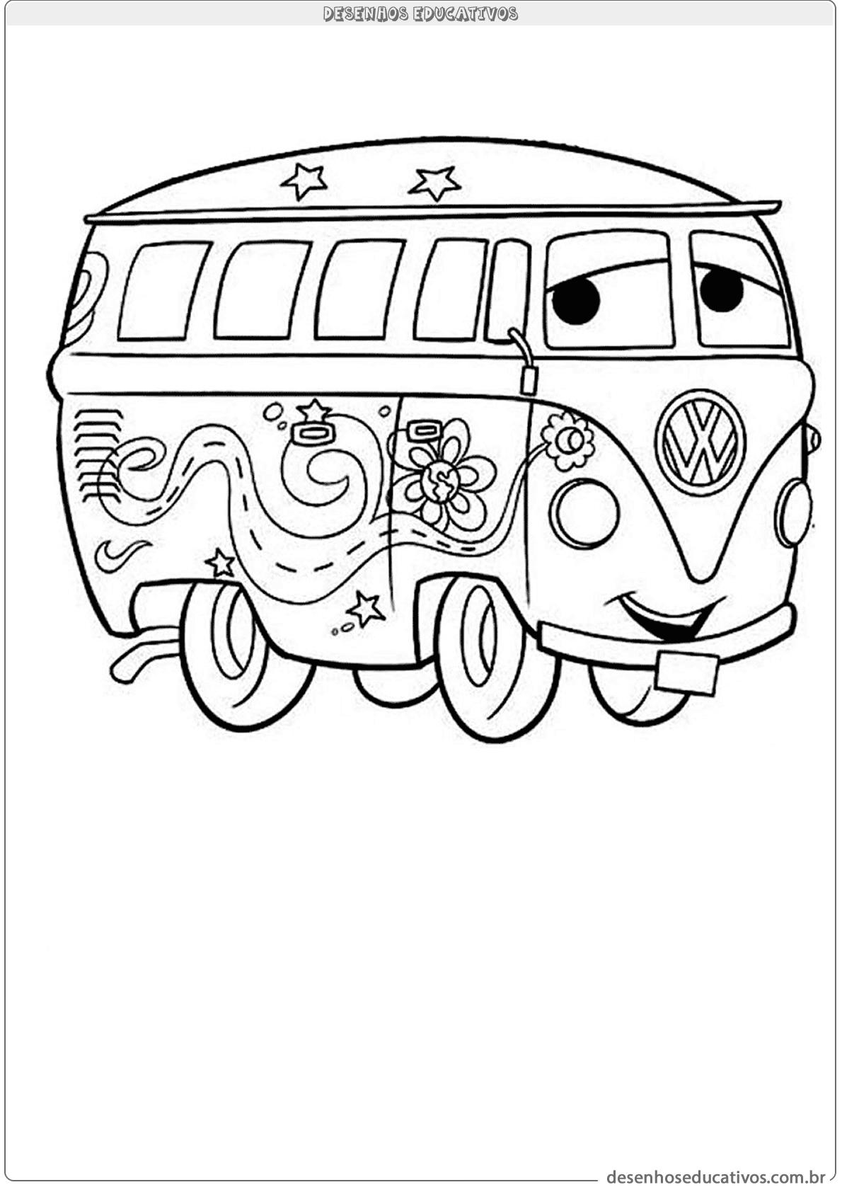 Kombi Para Colorir Desenhos Educativos