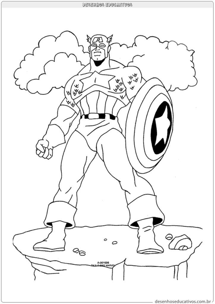 Para colorir Capitão América