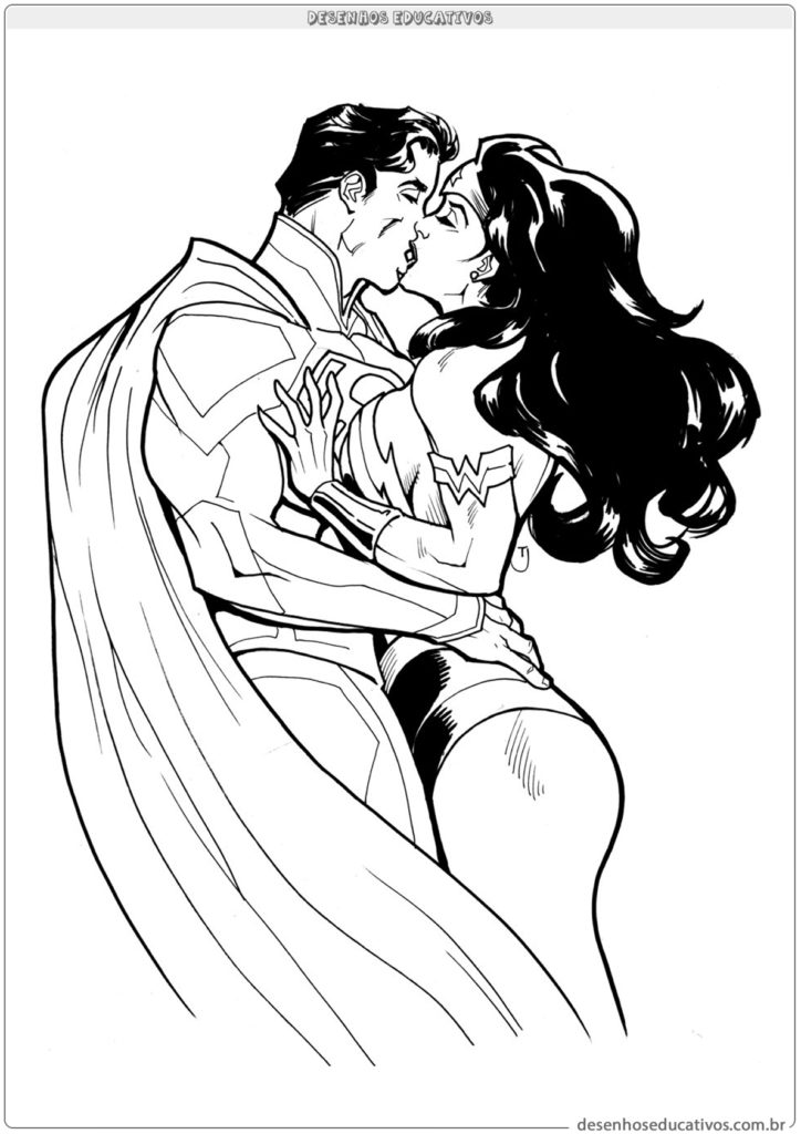 Superman beijando Mulher Maravilha