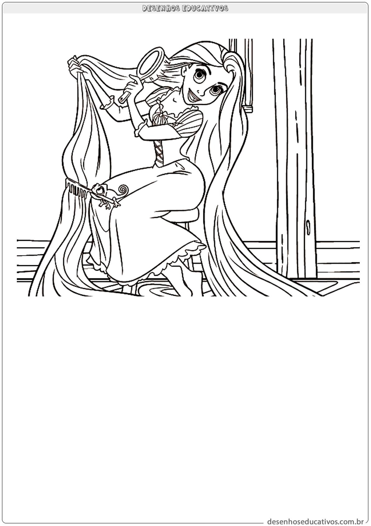 Rapunzel penteando os cabelos